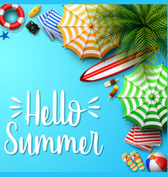 summer holidays background in the blue beach sand vector image