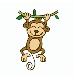 Swinging monkey cartoon for kids vector