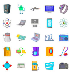 system icons set cartoon style vector image
