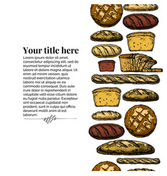 template with bakery products vector image