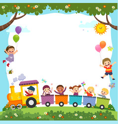 template with cartoon happy kids on train vector image