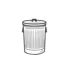 trash bin hand drawn outline doodle icon vector image