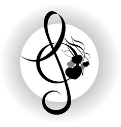 Treble clef with notes design vector