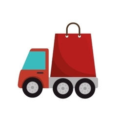 Truck delivery service with shopping bag icon vector