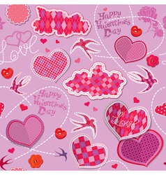 Valentines Day seamless pattern with hearts clouds vector image
