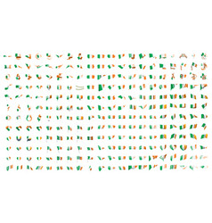 very big collection of flags of the ireland vector image