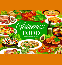 Vietnamese dishes with rice vegetable meat fish vector