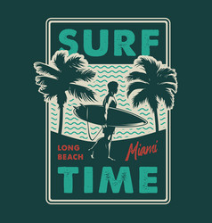 vintage surfing time colorful print vector image