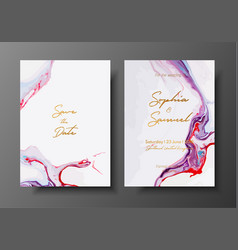 Wedding template with liquid marble texture vector