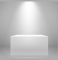 White illuminated wide stand on the wall mockup vector