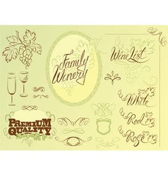 Wine calligraphy 2colors 380 vector