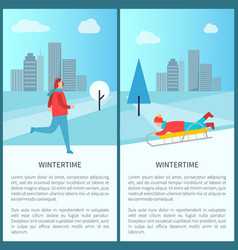 wintertime activities banner vector image