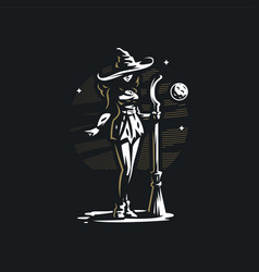Witch with a broom vector