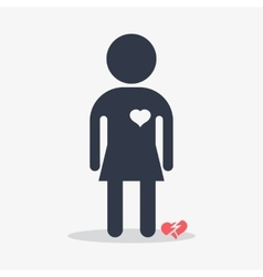 woman with broken heart vector image