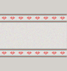 Wool knitted pattern with red hearts on whit vector