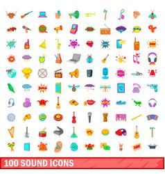 100 sound icons set cartoon style vector image