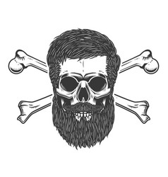 bearded skull with crossbones design element for vector image vector image