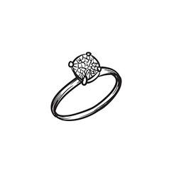 Diamond ring hand drawn vector image vector image