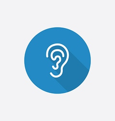 ear Flat Blue Simple Icon with long shadow vector image vector image