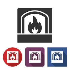 fireplace icon in different variants vector image