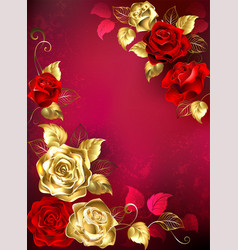 greeting card with red jewelry roses vector image vector image