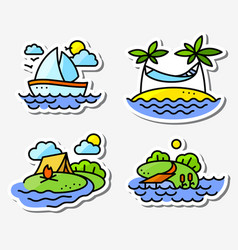 summer activity icons set in simply thin style vector image vector image