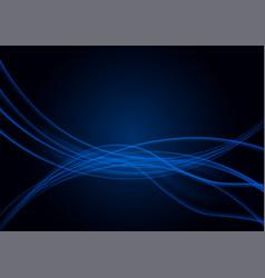 transparent wavy blue lines on black background vector image vector image