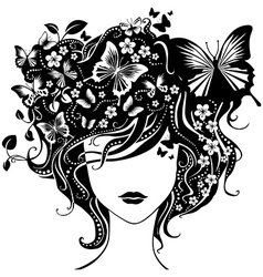 Abstract girl with butterflies in hair vector image vector image