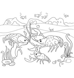 childrens cartoon family of crayfish on the bottom vector image vector image