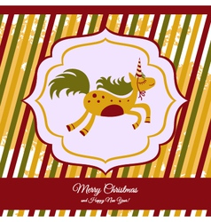 Christmas card with a cute horse vector image