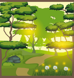 colorful background of forest mountain landscape vector image