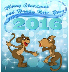 Holiday card with two monkeys vector