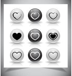 Set of heart buttons vector image