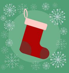 christmas sock flat vector image vector image