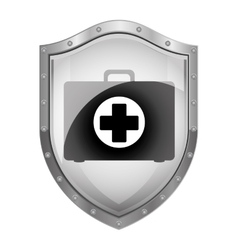 Metallic shield with first aid kit vector