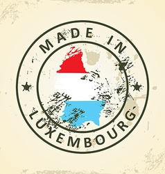 Stamp with map flag of Luxembourg vector image