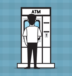 ATM and a man vector image