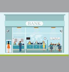 bank building exterior and bank interior vector image vector image