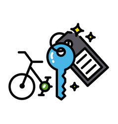 bicycle rental icon colorful black outline vector image vector image
