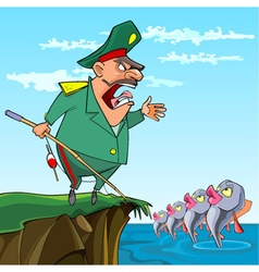 Cartoon male general fishing commanded the fish vector