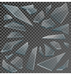 Realistic shards of broken glass with transparency vector