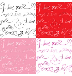 Set of Seamless patterns with hand drawn hearts vector image vector image