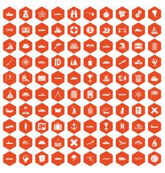100 shipping icons hexagon orange vector