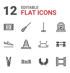 12 border icons vector image