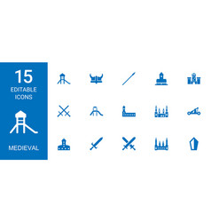 15 medieval icons vector