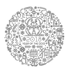 2018 year of the dog line icons set vector