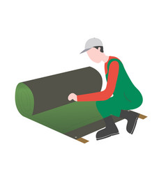 A man is laying artificial grass vector