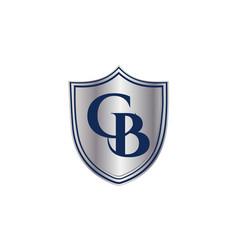 A shield logo design with cb initials inside vector