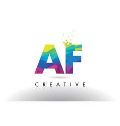 Af a f colorful letter origami triangles design vector
