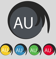 australia sign icon Set of colored buttons vector image